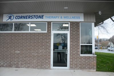 Front door of Cornerstone Therapy & Wellness located in St.Catherine's Ontario.